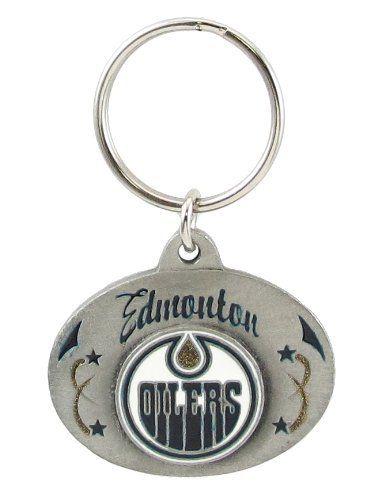 Edmonton Oilers Oval Pewter Keychain