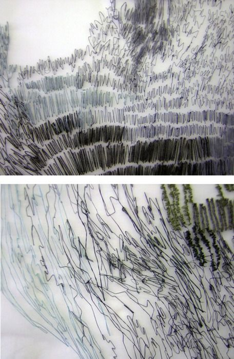 """MATERIAL INSPIRATION: thread on paper, graffic stitches and sketch (Roanna Wells, """"Like The Wind"""" ??)"""