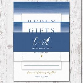 Blue Ombre Watercolour Wedding Invitation Belly Band, Navy and Gold, Professionally Printed, Peach Perfect Australia
