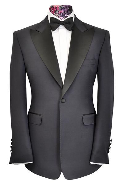 The Morgan Navy Fine Rib with Contrasting Black Lapel - William Hunt Savile Row  - 1