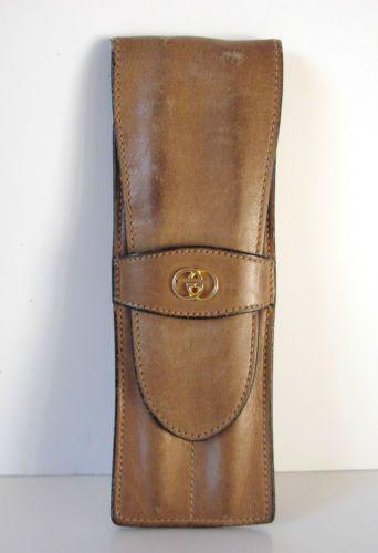 GUCCI Vintage Leather Cigar / Pen Case Holder Bag Tobacco Accessory