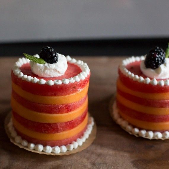 Mini Melon Cakes: Quick, Healthy, No-Bake, Gluten-Free, and Cake-Free  Looking for a quick and healthy dessert? Try making these mini melon cakes! They are the perfect party treat for a hot summer day, but really can be served all year round. These fresh fruit cakes use cantaloupe, watermelon, whipped cream, and a blackberry, and mint leaf as garnish.