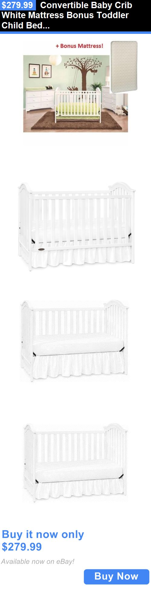 Baby crib youth bed - Baby Nursery Convertible Baby Crib White Mattress Bonus Toddler Child Bed Nursery Furniture Buy It