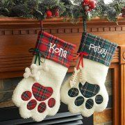 Personalised Canine Paw and Cat Paw Christmas Stockings Picture 1 of two