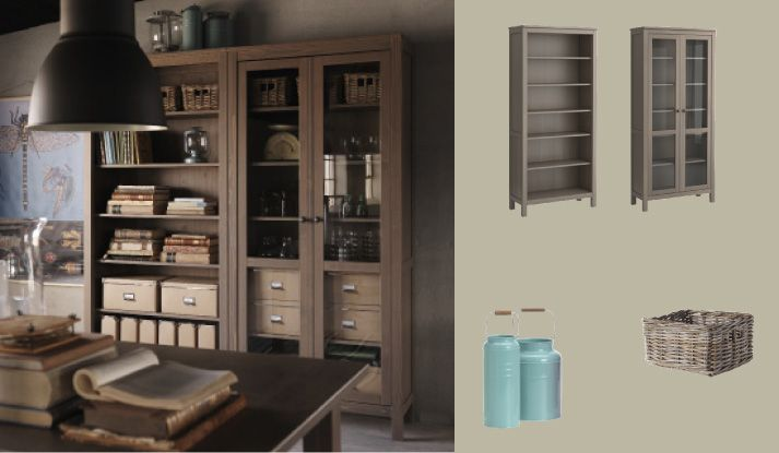 hemnes grey brown bookcase and glass door cabinet my. Black Bedroom Furniture Sets. Home Design Ideas
