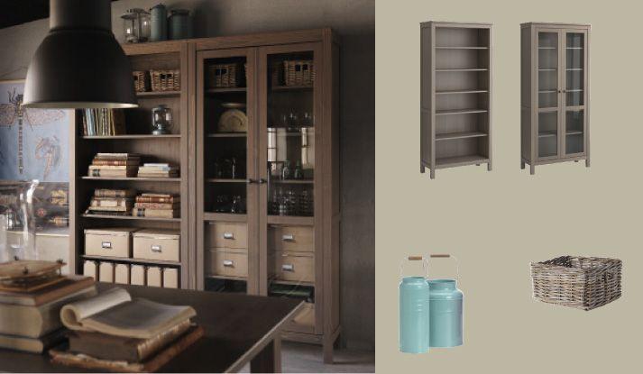 hemnes grey brown bookcase and glass door cabinet my. Black Bedroom Furniture Sets. Home Design Ideas