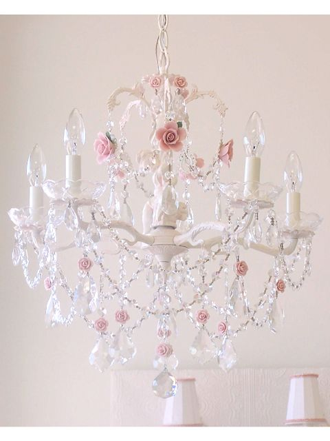 Rose Pink 5 Arm French Cherub Chandelier - The Bella Cottage