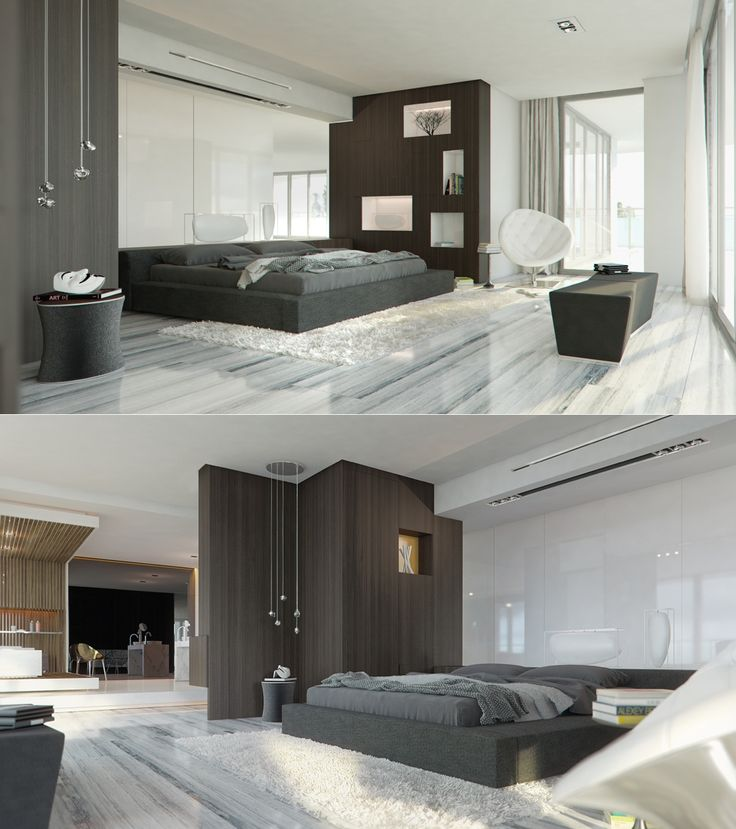 The cool greys and reflective marble floor in this bedroom keep things simple and a little bit zen.