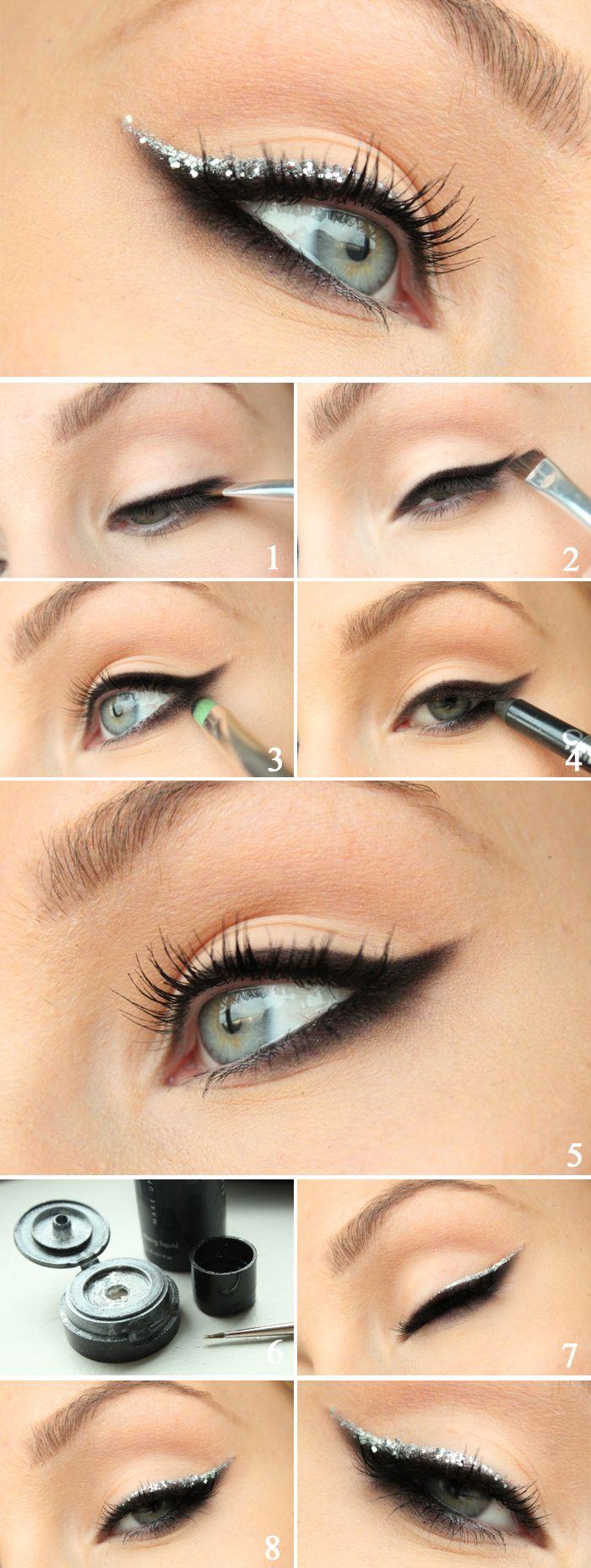 Smokey eyeliner with silver glitter