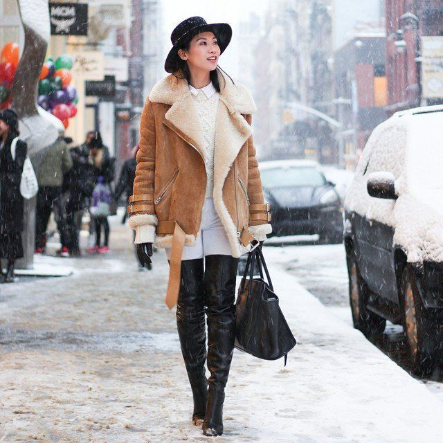 Real-Life Ways to Wear a Shearling Jacket This Winter   POPSUGAR Fashion