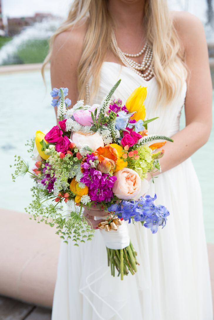 My perfect wedding bouquet by Boesen the Florist! Peonies, garden roses, ranunculus, tulips, and wild flowers.