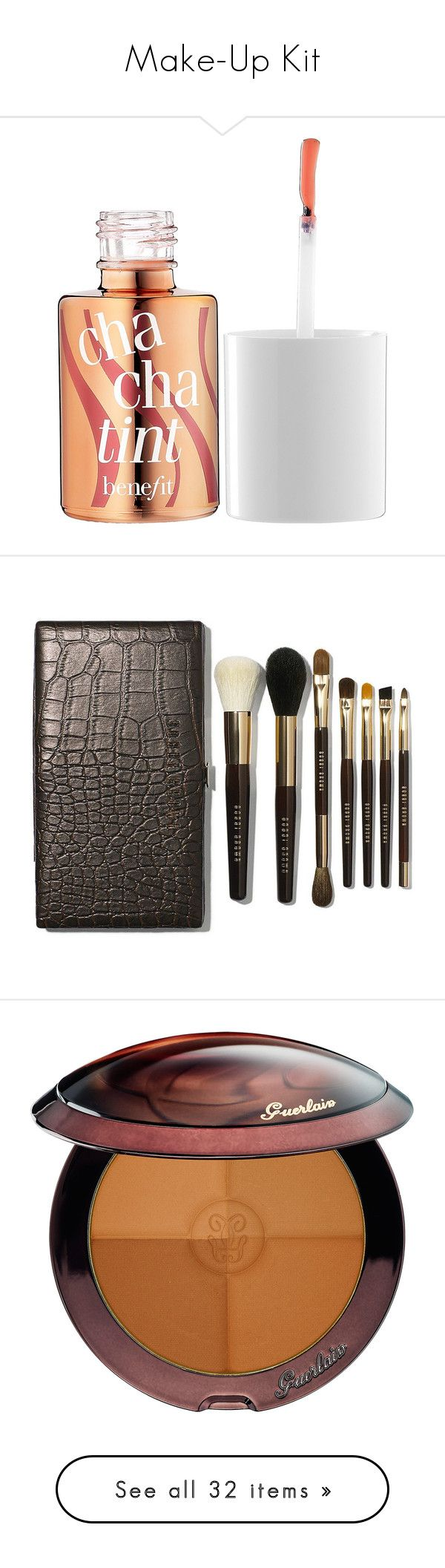 Make-Up Kit by charlotte-mcfarlane on Polyvore featuring polyvore, beauty products, makeup, cheek makeup, blush, beauty, faces, benefit blush, makeup tools, makeup brushes, fillers, apparel & accessories, no color, blender brush, set of brushes, bobbi brown cosmetics, makeup powder brush, set of makeup brushes, lip makeup, lip gloss, lips, shiny, glossier lip gloss, lip gloss makeup, shiny lip gloss, lip shine, cheek bronzer, guerlain bronzing powder, guerlain, eye makeup, eyeshadow, eyes…
