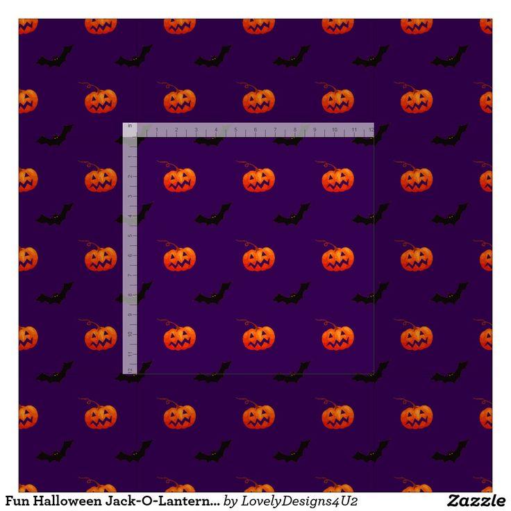 Fun Halloween Jack-O-Lantern and Bat Pattern Fabric