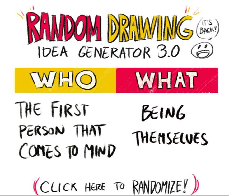 The Random Drawing Idea Generator 3 0 Now With Less Than A One In Five Thous Drawing Prompt Generator Drawing Generator Drawing Prompt