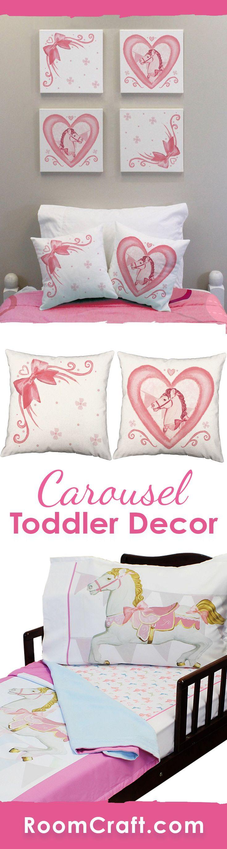Horse shaped pillows for children - Darling Carousel Toddler Bedding Set