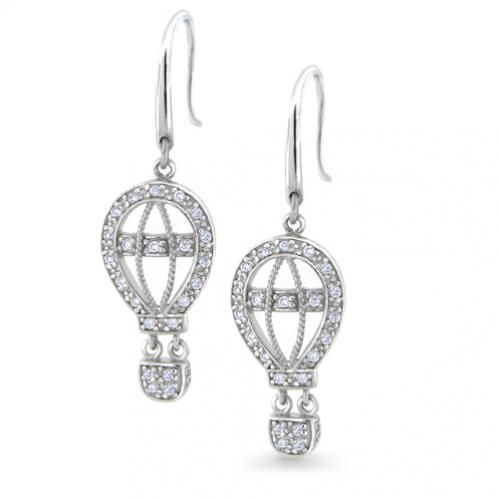Sterling Silver Chandelier Earrings CZ Pave Hot-Air Balloon