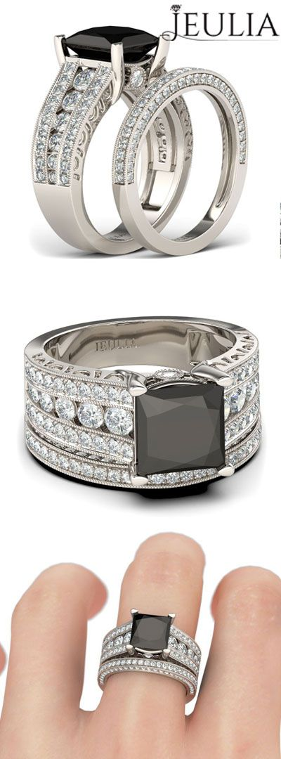 Black Diamond With Princess Cut Rhodium Plated Sterling Silver Best Choice For