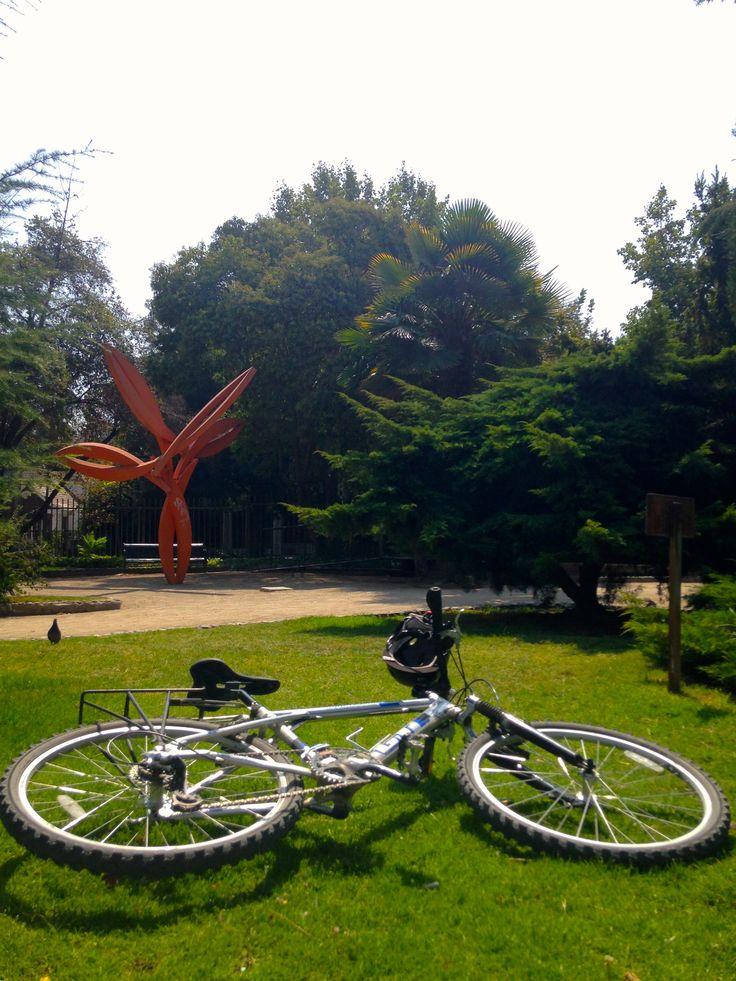 Mi bici en el Parque de las Esculturas, Providencia, Santiago, Chile
