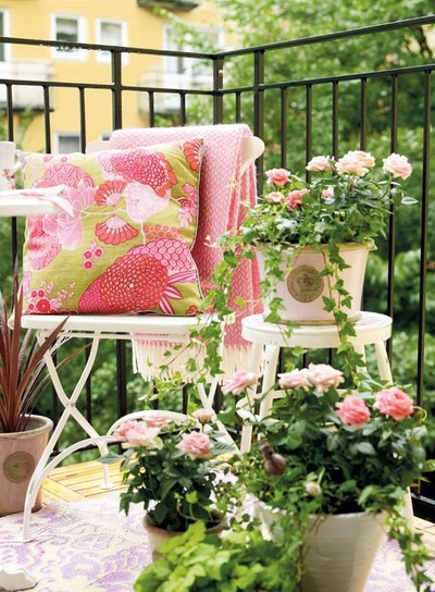 .: Outdoor Living, Balconies, Balcony Garden, Balcony Ideas, Patio, Pink, Outdoor Spaces, Flower