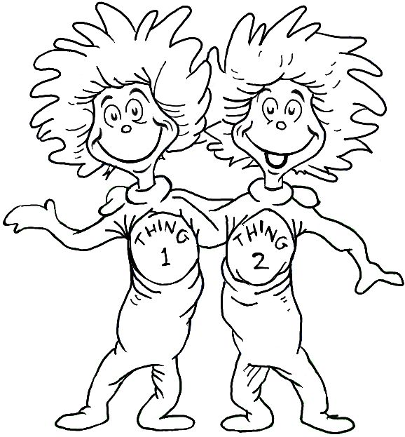 How to Draw Thing One and Thing Two from Dr. Seuss The Cat