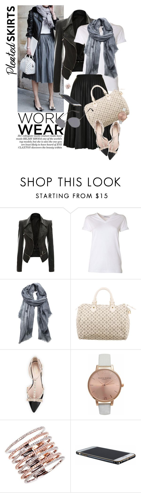 """Summer Work Wear"" by reginakos ❤ liked on Polyvore featuring T By Alexander Wang, Topshop, Louis Vuitton, Kate Spade, Olivia Burton, leatherjacket, pleatedskirts and workaholic"
