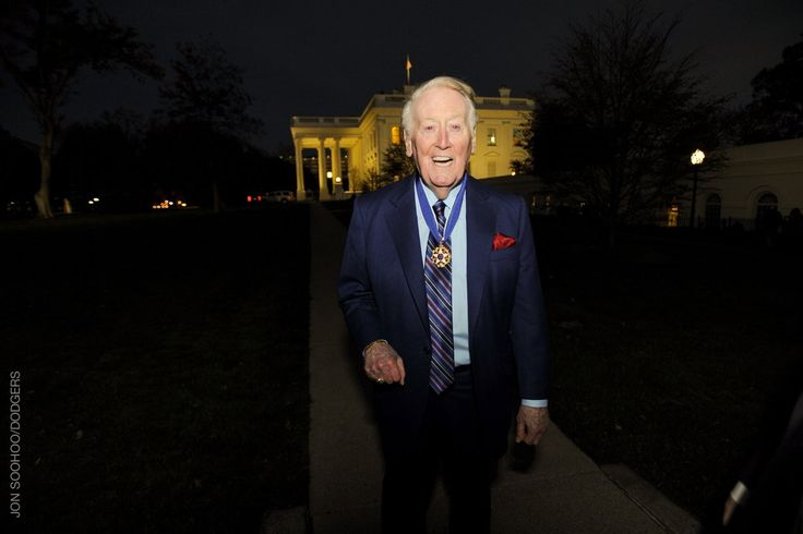 Vin Scully at the White House with the Presidential Medal of Freedom