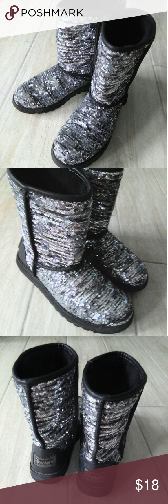 EUC Skechers winter boots Very comfortable, all sequins in place.  Great quality boots that will last.  Would fit both 8 & 8.5  Smoke free, quick shipping. Skechers Shoes Winter & Rain Boots