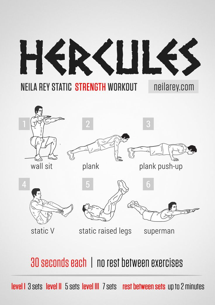 What it works: Quads, chest, triceps, biceps, abs, core, lower abs, lower back, glutes. Tip:These are isometric exercise designed to pit o...