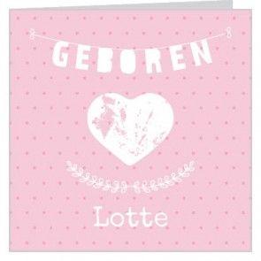 #Silhouet geboortekaartje voor een #meisje met roze stippen achtergrond en witte #slinger hartje en ornament.   Maak het jouw eigen kaartje door het aan te passen met eigen tekst en bijpassende afbeeldingen uit onze beeldenmap op www.babyboefjes.nl. Direct het kaartje bewerken: http://www.babyboefjes.nl/geboortekaartje-01-1-0448.html