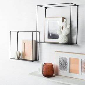 Wanddeko Regal, Metall, 35x15x38cm, schwarz, schwa…