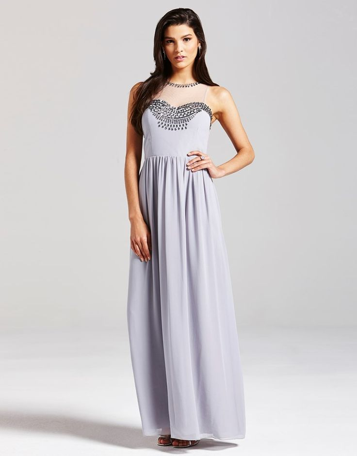 Little Mistress Embellished Mesh Maxi Dress