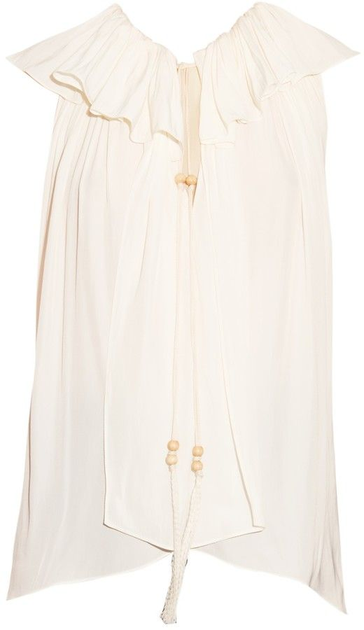 LANVIN Ruffled neck-tie sleeveless blouse