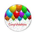 Congratulations Balloons Classic Round Sticker