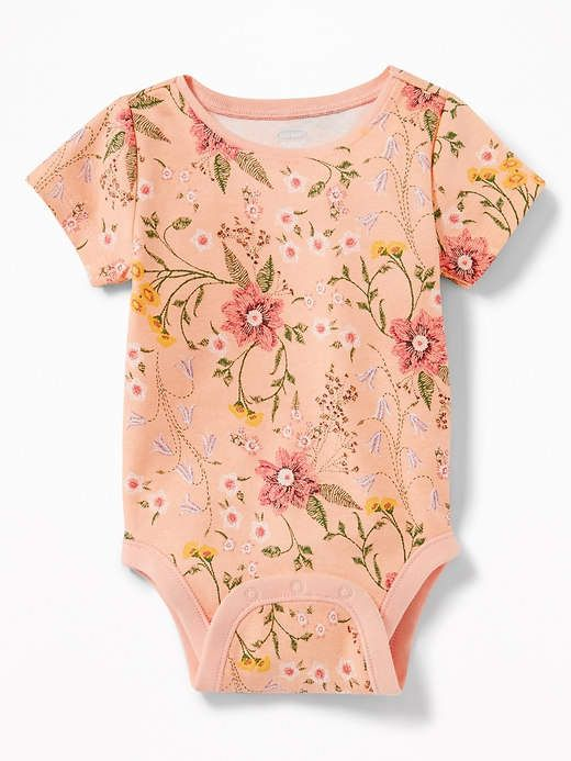 Printed floral and blush playsuit for baby girl. So cute and sweet.