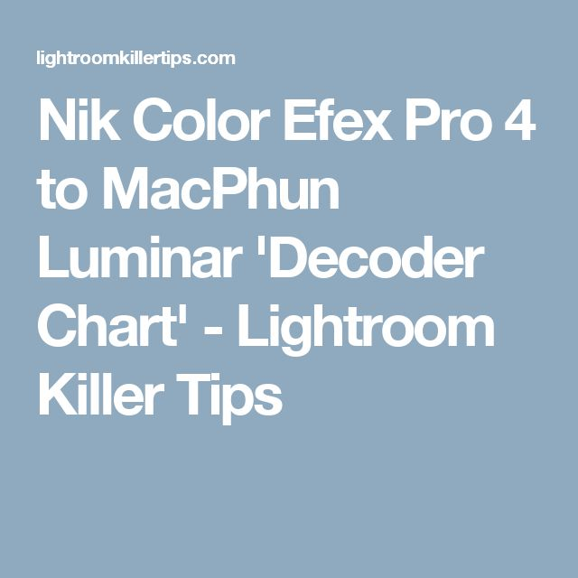 Nik Color Efex Pro 4 to MacPhun Luminar 'Decoder Chart' - Lightroom Killer Tips