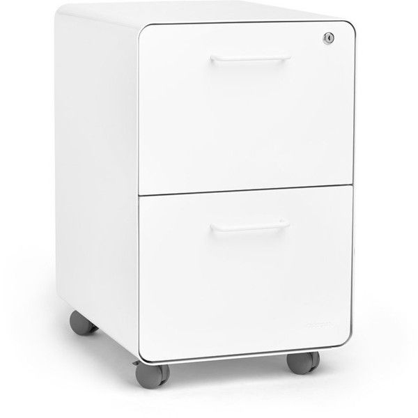 Poppin White Stow Rolling 2-Drawer File Cabinet, Metal, Legal/Letter ❤ liked on Polyvore featuring home, furniture, storage & shelves, file cabinets, two drawer metal filing cabinet, 2 drawer file cabinet, metal filing cabinet, white filing cabinet and white 2 drawer file cabinet