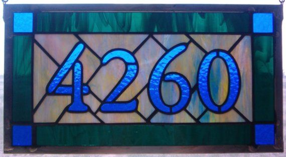 Custom Stained Glass Addresses Custom Stained by cityfreeglass, $160.00