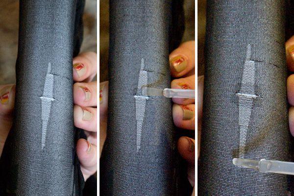 En als je dat doet krijg gaten / runs, verf de randen van de rip met heldere nagellak. | 25 Ingenious Clothing Hacks Everyone Should Know