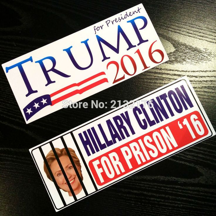 2PCS Hillary Clinton For Prison 2016 Presidential Election Decal Bumper Car Sticker United States Candidate GOP