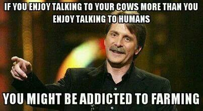 Ha ha this is dad and he loves farming! :) I would agree talking to a cow is sometimes more fun.