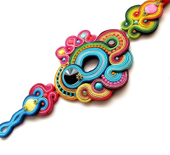 Orientalische bunte Manschette Soutache Armband von StudioGianna