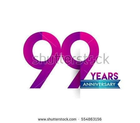 ninety nine years anniversary celebration logotype colorfull design with blue ribbon, 99th birthday logo on white background