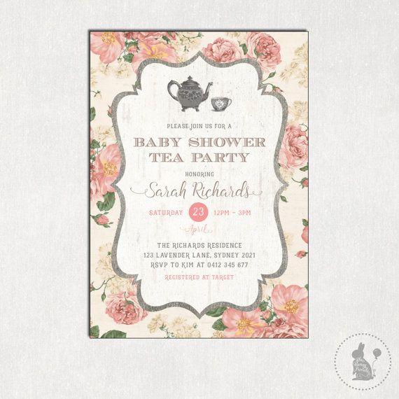 Baby-Dusche-TEA-PARTY-Einladung. Shabby von BlueBunnyPrintables