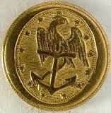 Brass button with eagle and anchor