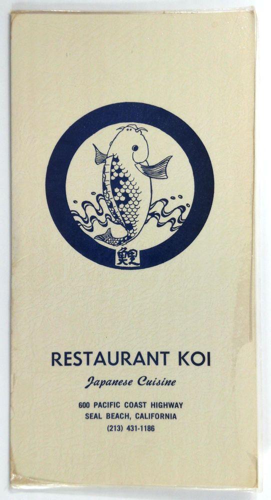 1970 S Vintage Dinner Menu Restaurant Koi Anese Cuisine Seal Beach California