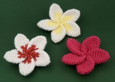 Free plumeria flower crochet pattern - Attach to a hair pin or connect to make a headband or garland. Perfect when you need a flower garland for a luau party! ✿⊱╮Teresa Restegui http://www.pinterest.com/teretegui/✿⊱╮
