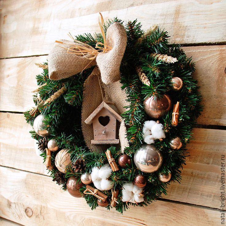 Купить Новогодний венок на стену. С домиком - новогодняя композиция, новогодний сувенир, новогодний подарок