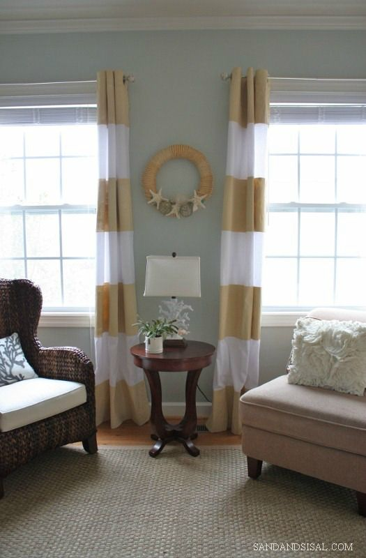 DIY Painted Curtains - Sand & Sisal Dining Room?