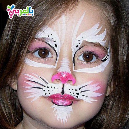 رسومات على وجوه الاطفال سهلة للبنات افكار حفلات للاطفال بالعربي نتعلم Bunny Face Paint Face Painting Halloween Kitty Face Paint