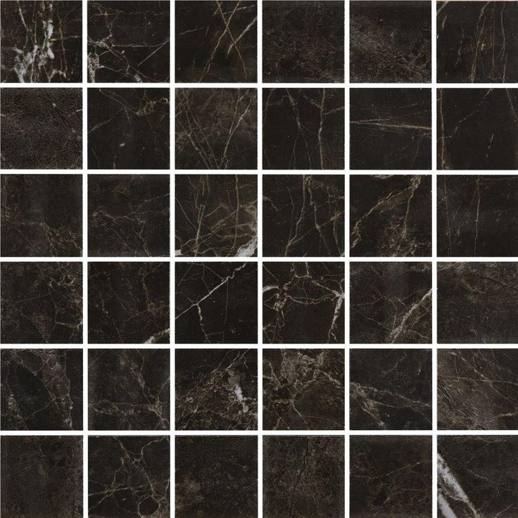 #Bricmate M0505 Noir St. Laurent 5x5 mosaik. Marmorinspirerad granitkeramik med härlig variation. Sammetslen yta likt en slipad marmor.